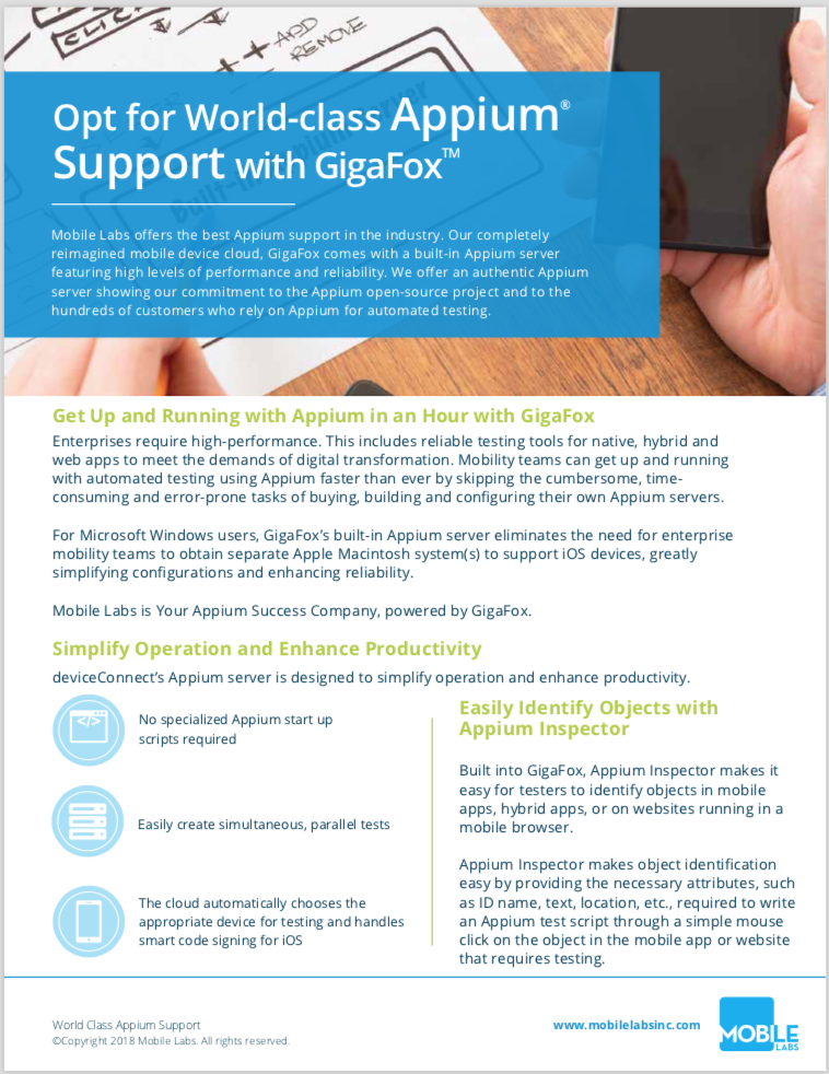 World-class Appium Support Brochure